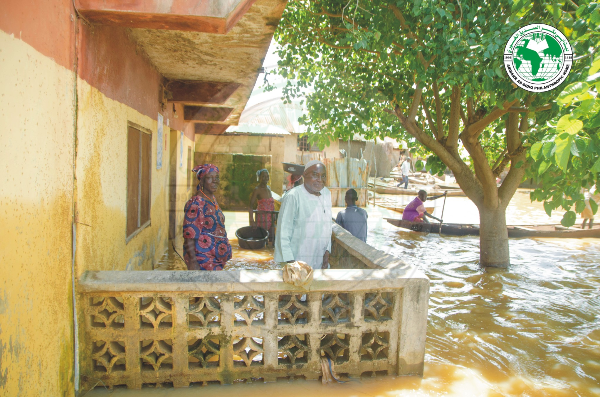 Abibakr As-Sidiq Philanthropic Home team designated field team conductiong a physical assessment on communities hit by the recent heavy rainstorm and flood disasters in Kwara State